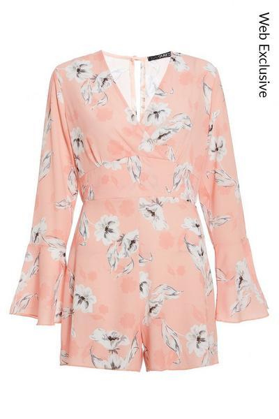 Peach And White Floral Long Sleeve Playsuit